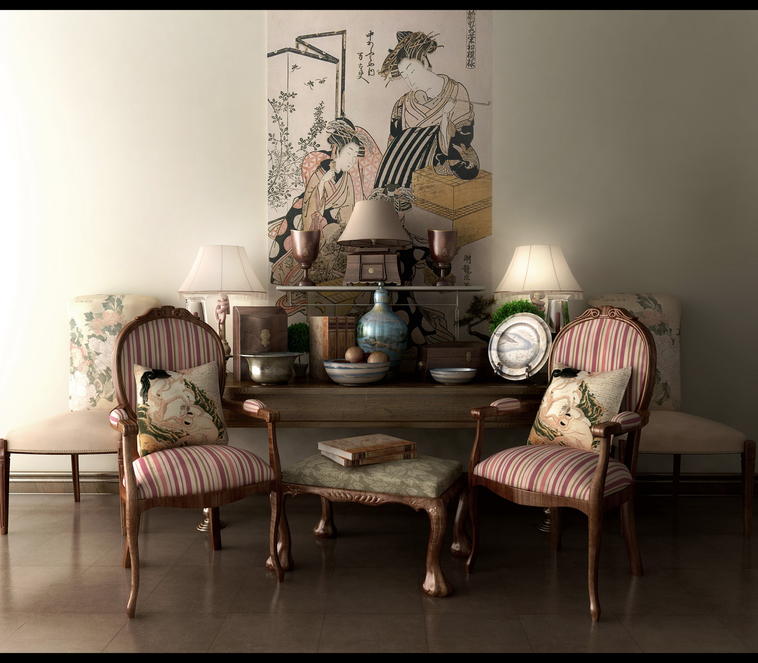 Classic-decor-asian-inspired-designs-striped-chairs
