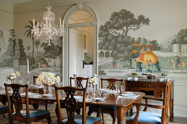 Traditional Dining Room Ideas With Vintage Wallpaper Decoration