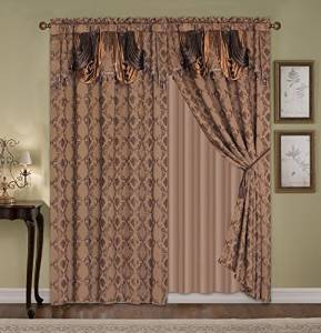Fancy Curtains Jacquard High Quality with Attached Valance