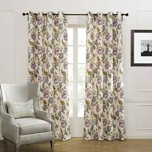 Grommet Top Country Colorful Blooming Flowers Blackout Curtains