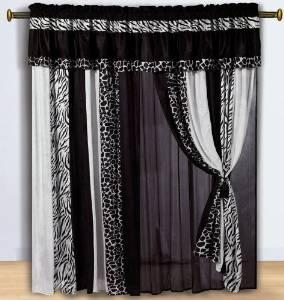 Micro Fur Zebra with Giraffe Design Window Curtain