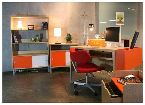 Orange Office Designing For Teenage Girls