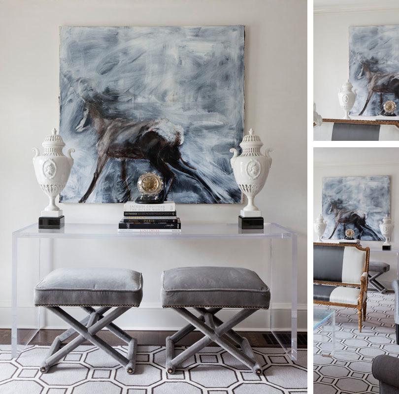 pretty-classy-living-room-vignette-glass-console-equine-art